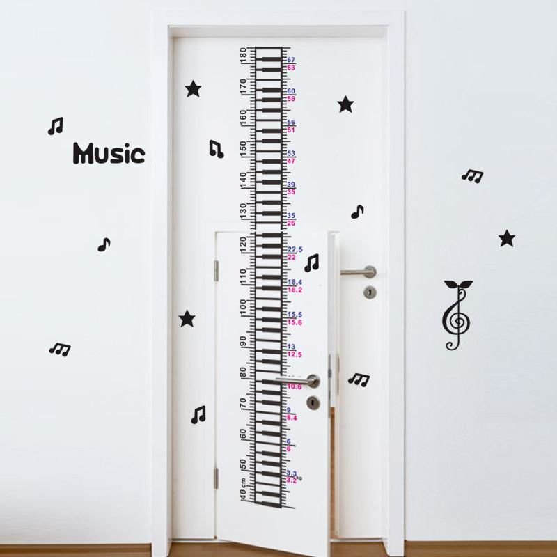 Creative Music Piano Baby Children Height Measure Wall Sticker Decal
