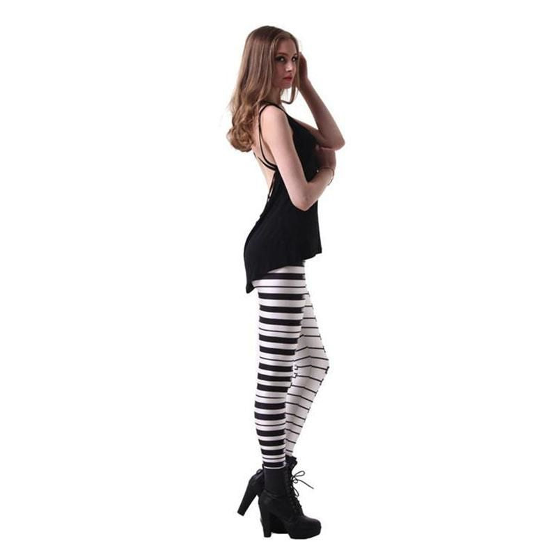 Fashion Design Piano Keyboard Leggings Ropa Mujer