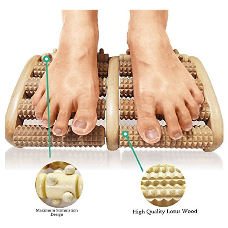 Wooden Dual Foot Roller Massager