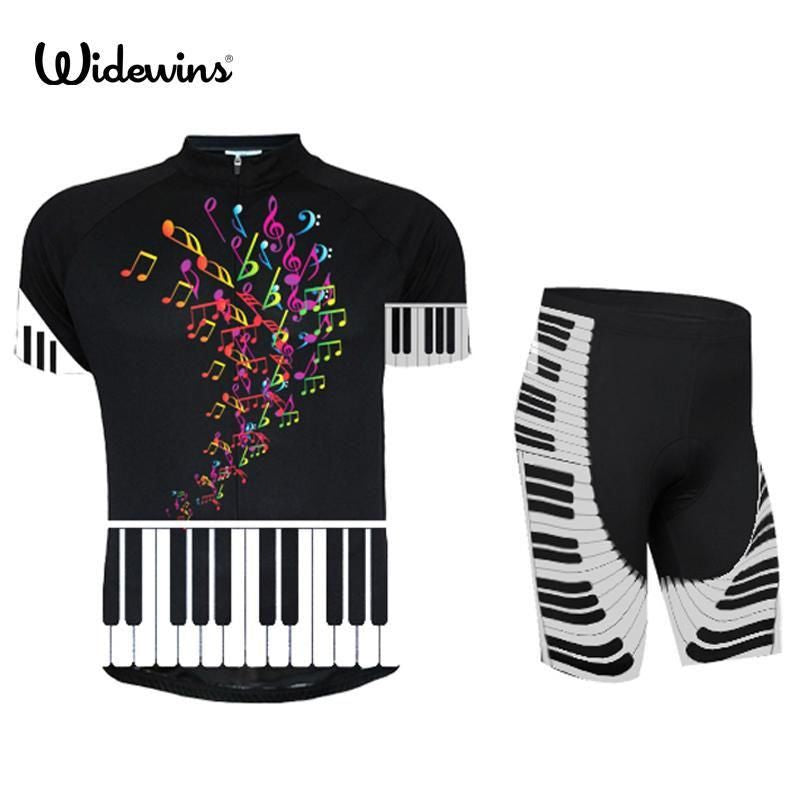 Sportswear Combination Of Cyclist With Piano Motives For Men And Women Clothing