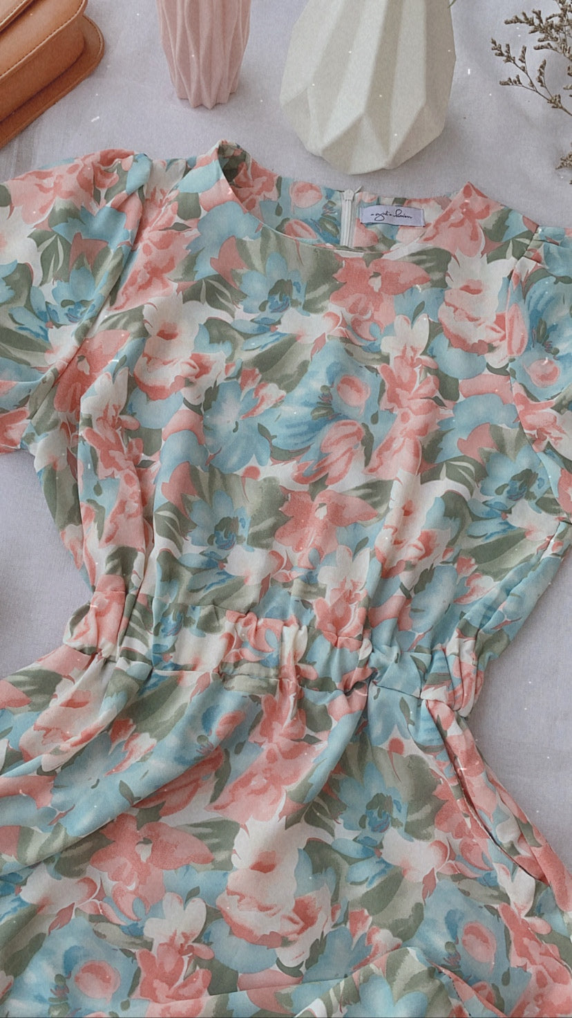 TARA Floral Dress - Sunset Sky