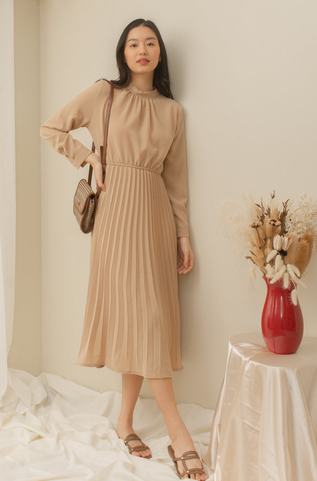 EMPRESS High Neck Long Sleeve Pleated Dress