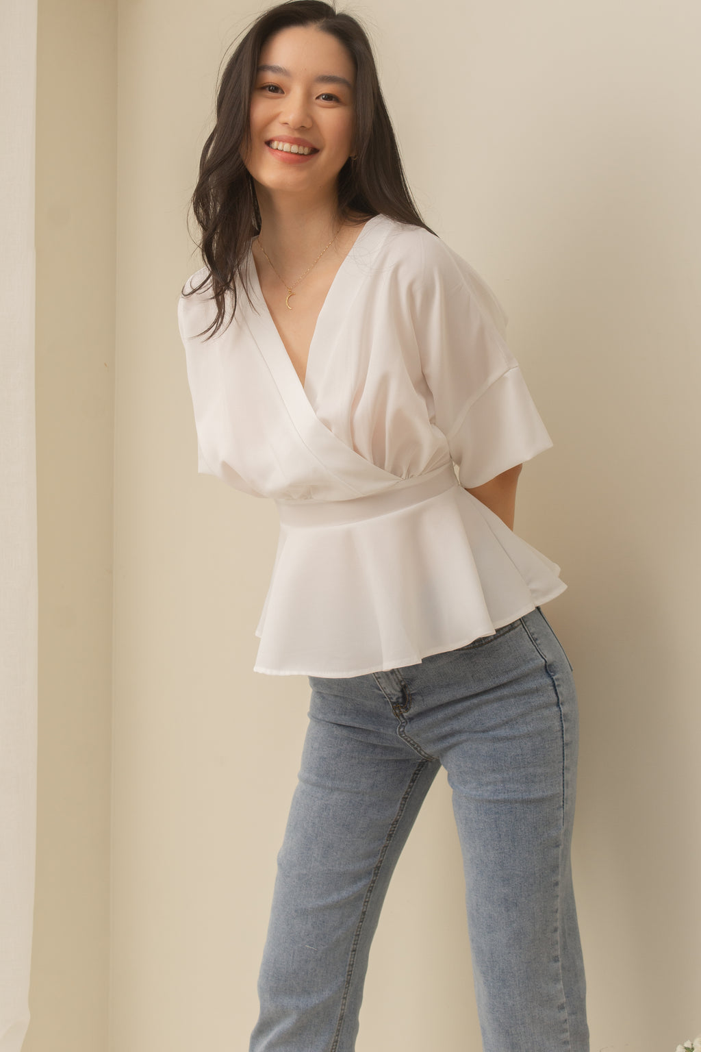RILEY V-Neck Peplum Top (WHITE)