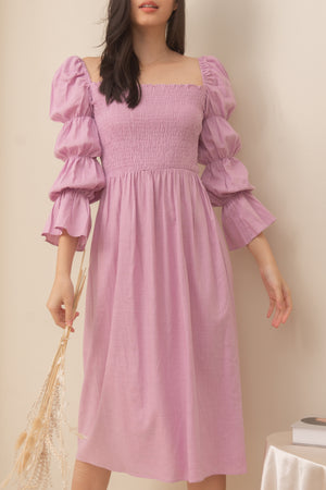 TBDA: Aurore Tiered Puff Sleeve Smocked Dress - Lilac