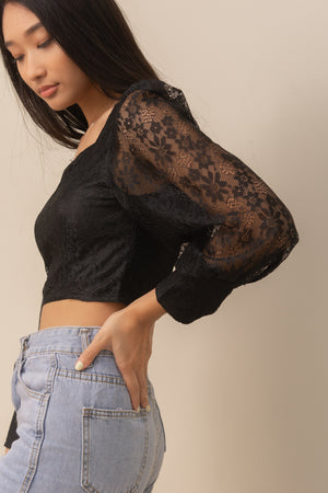 BETSY Lace Sleeve Blouse (BLACK)
