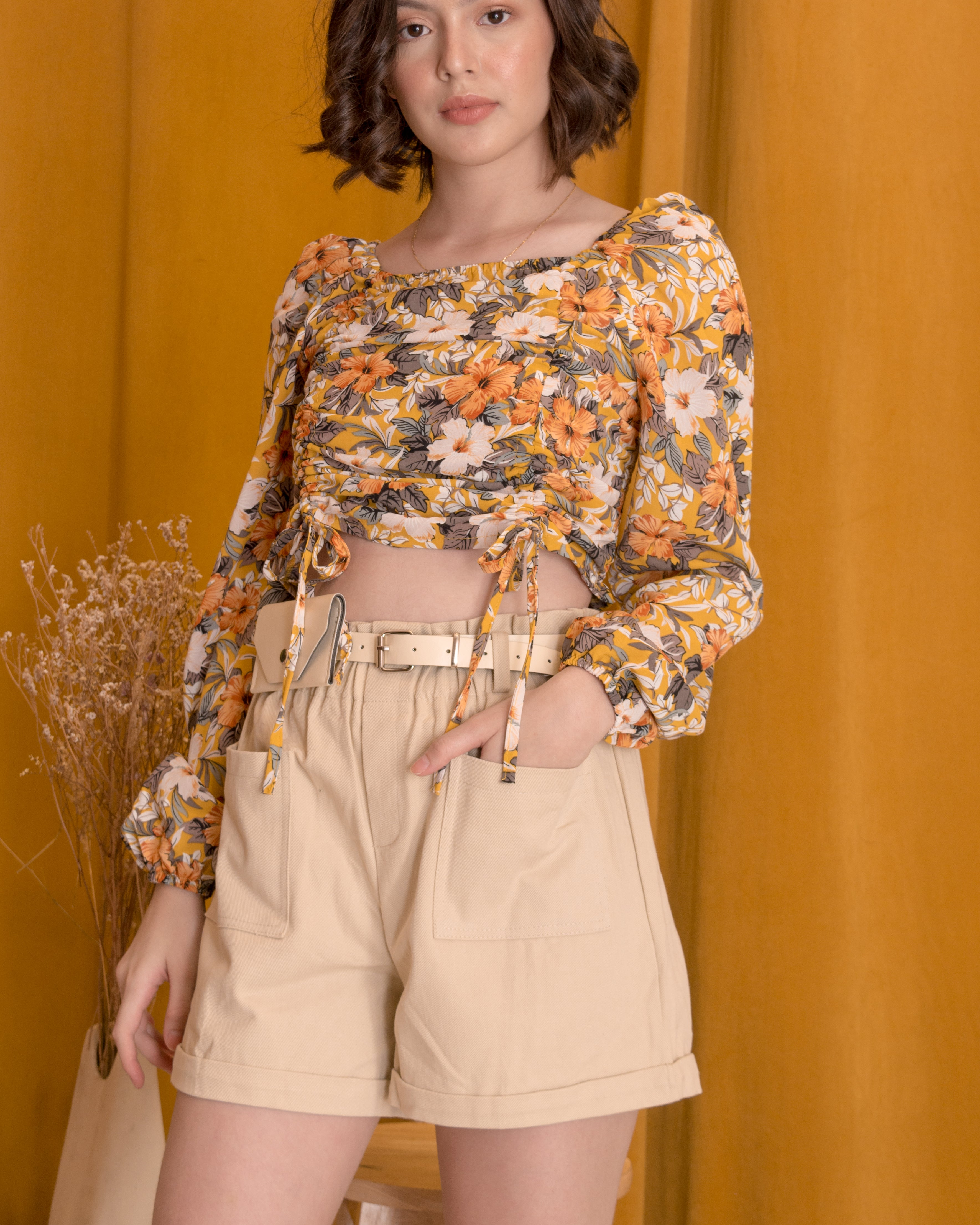 AMBER Floral Ruched Top