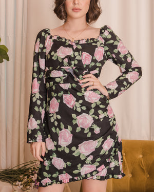 TALLULAH Floral Dress - Black
