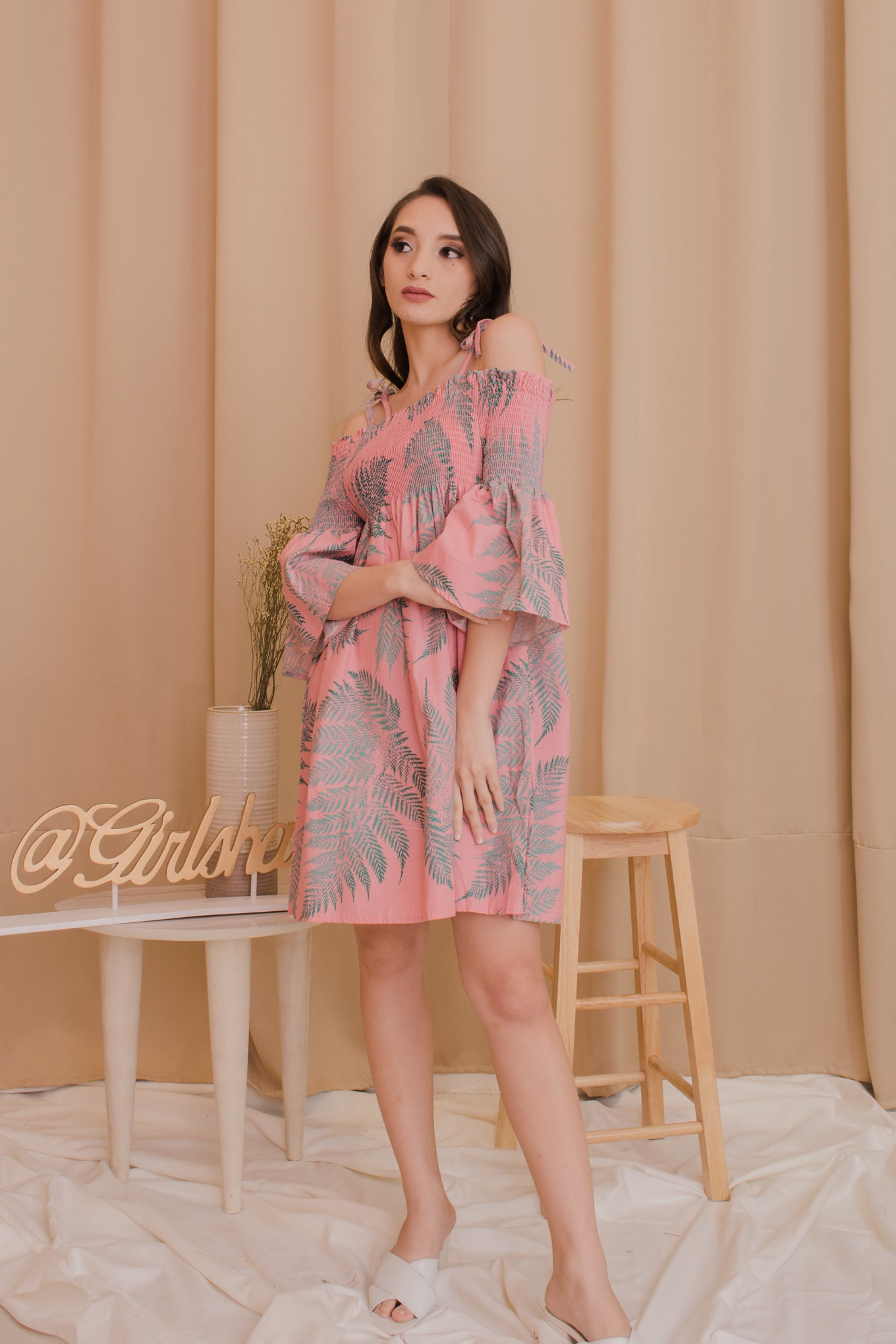 KEIRA Printed Smocked Dress - Feathers