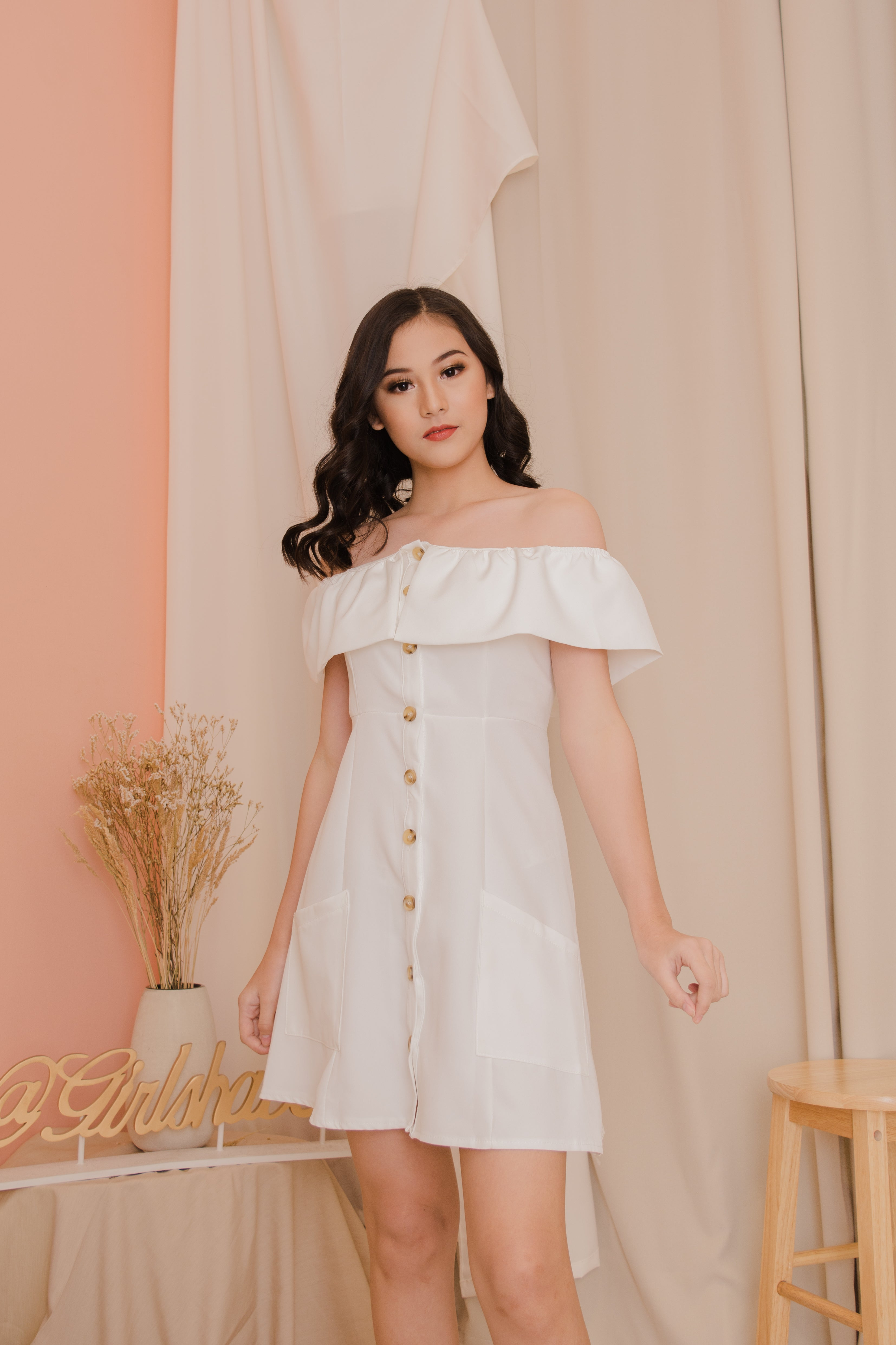 SOLA Off the Shoulder Collared Dress  - White