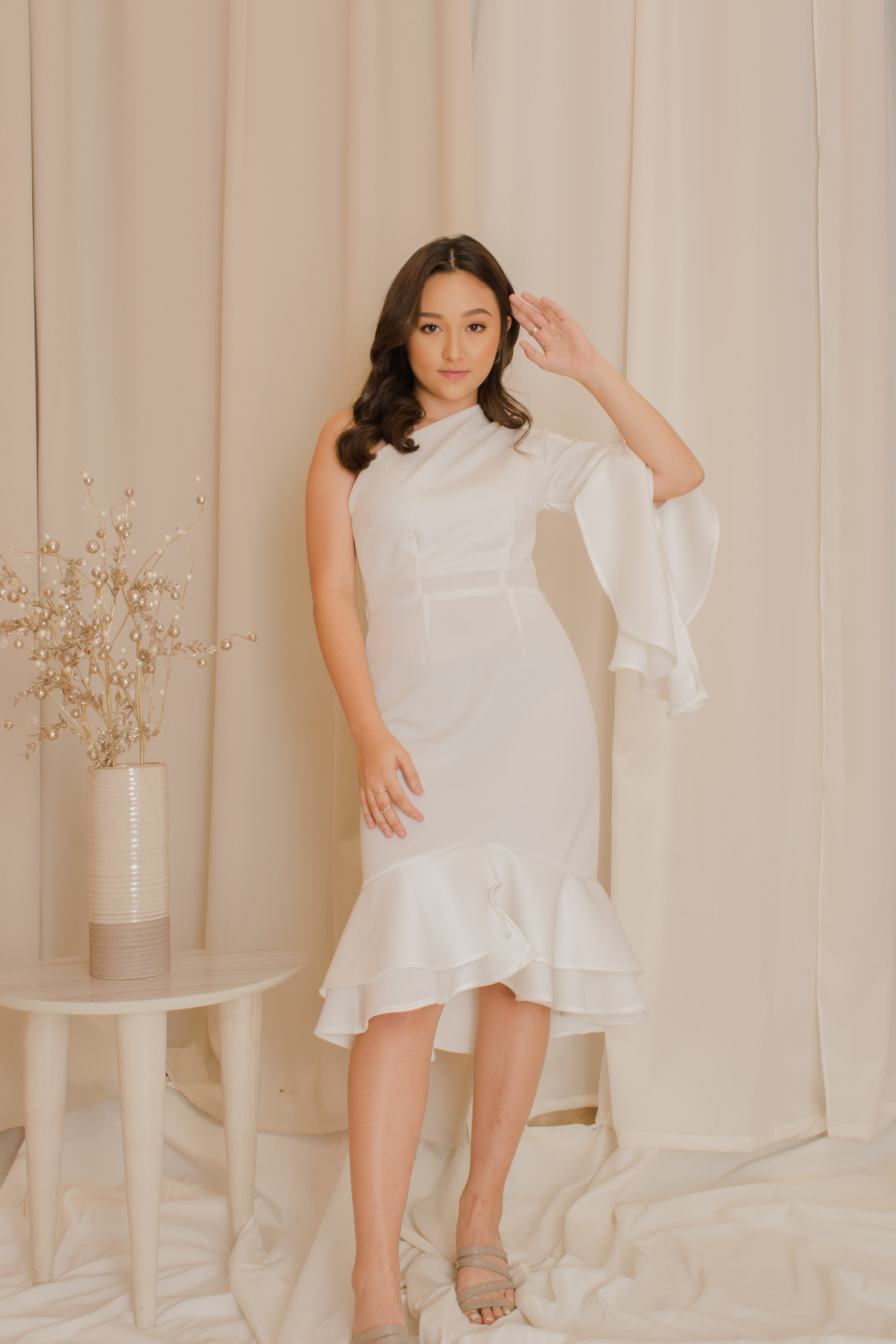 LEWIS One Sided Ruffle Dress
