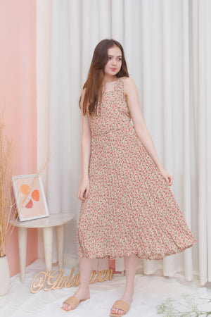 FLORENCE Vintage Floral Pleated Dress