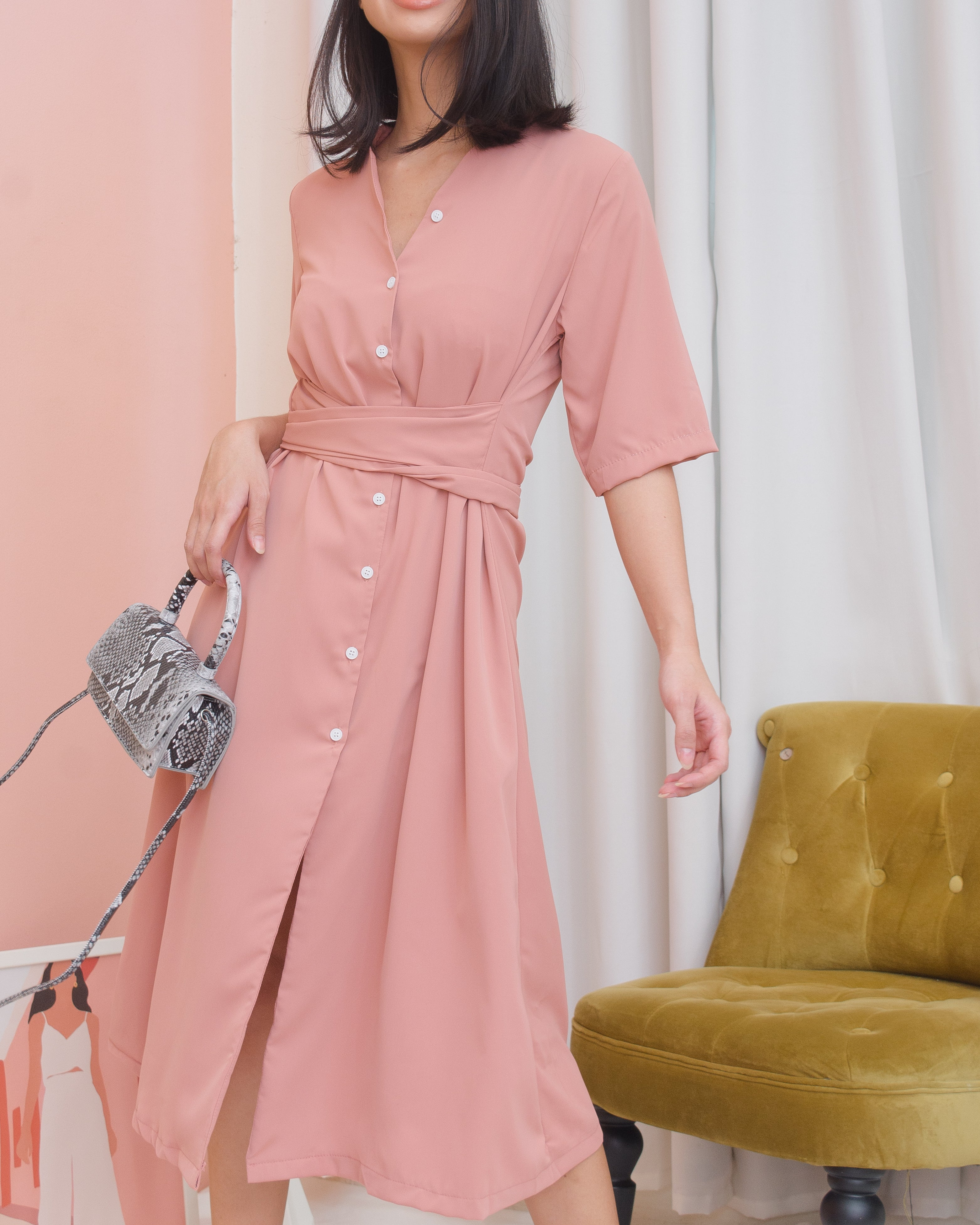VALERIA Buttoned Midi Dress