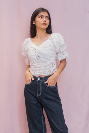 CAINA Eyelet Twisted Front Puff Sleeve Top