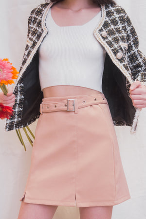 SANA Suede Belted Skirt