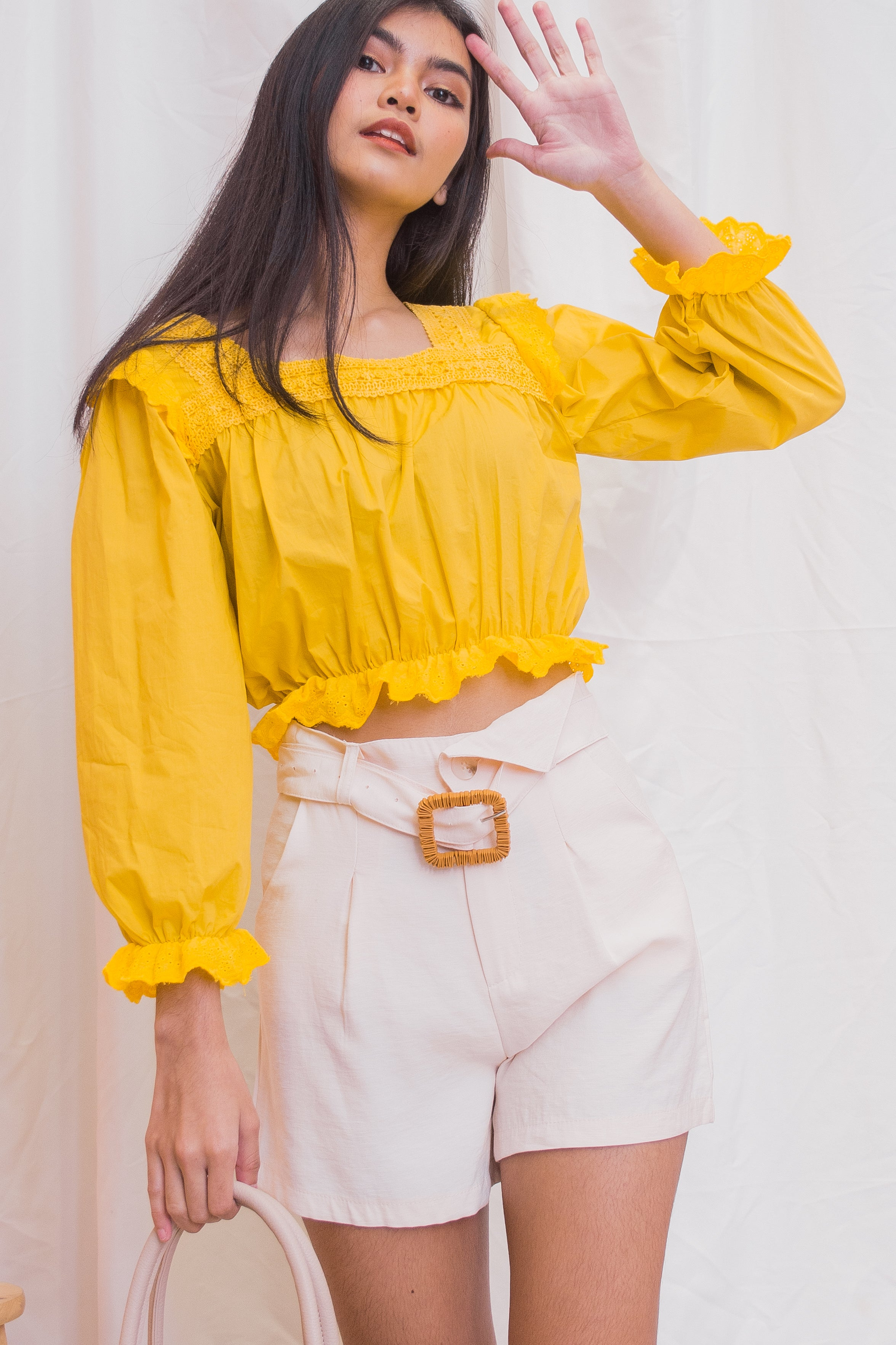 OLIVIA Square Neck Long Sleeve Blouse