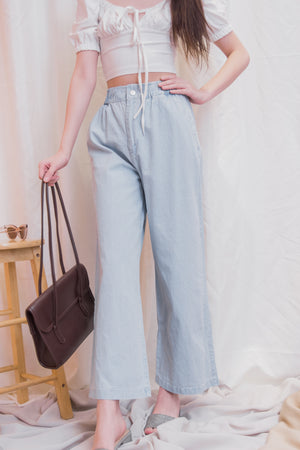 GALIA Wide Leg Culotte Pants - Light Wash