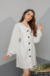 KLARA Puff Sleeve Linen Buttoned Dress