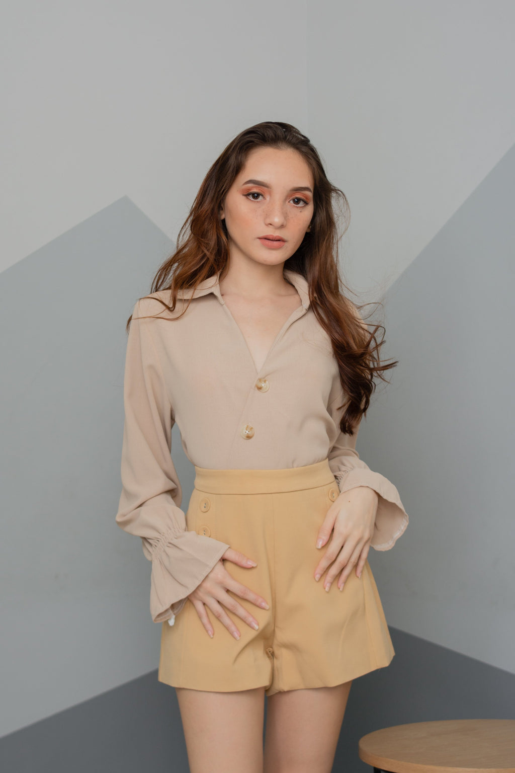 INGRID Buttoned Collared Top