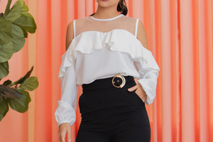 REVEUSE Cold Shoulder Blouse