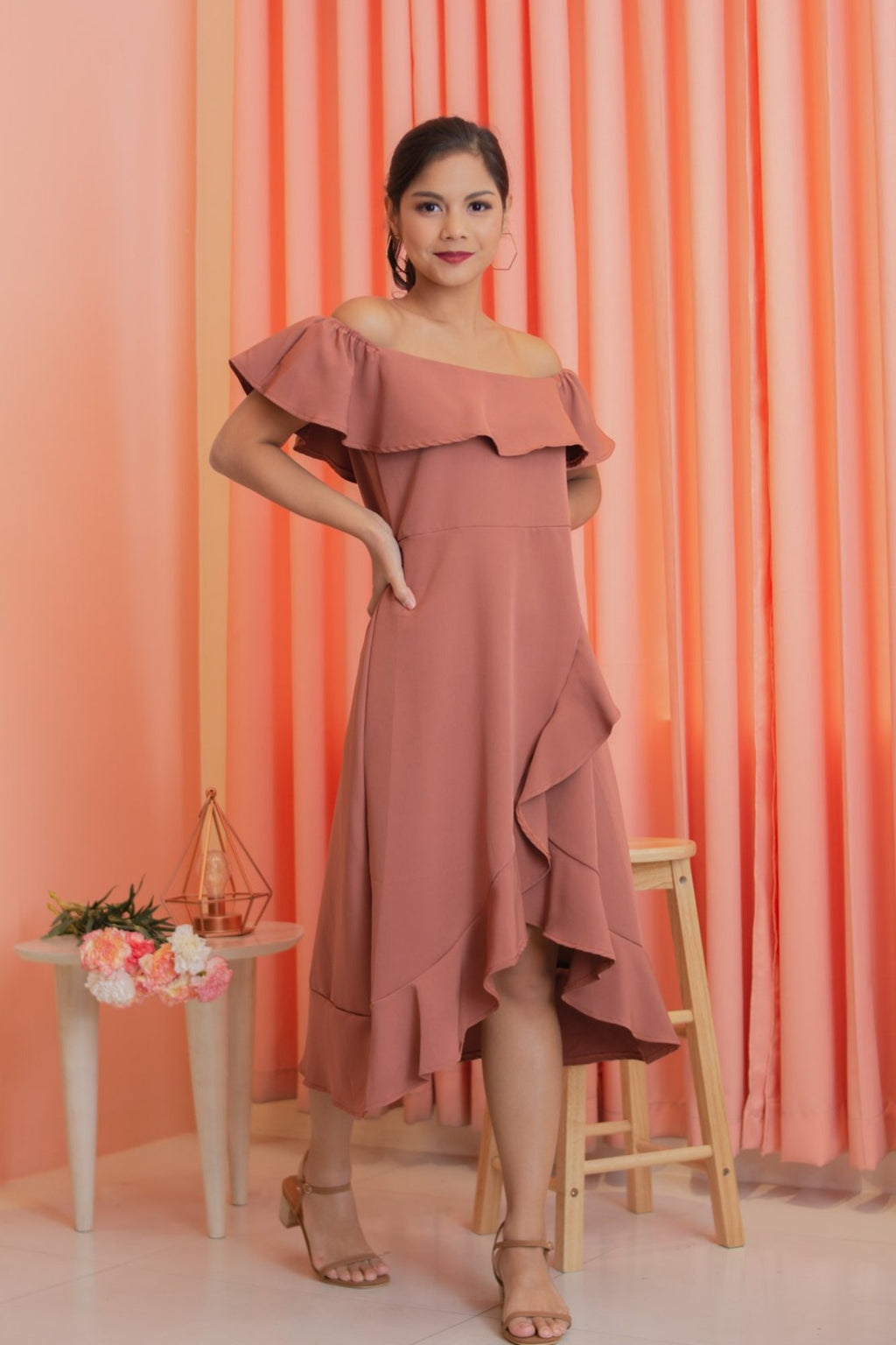 CECILLE Off Shoulder Ruffle Dress