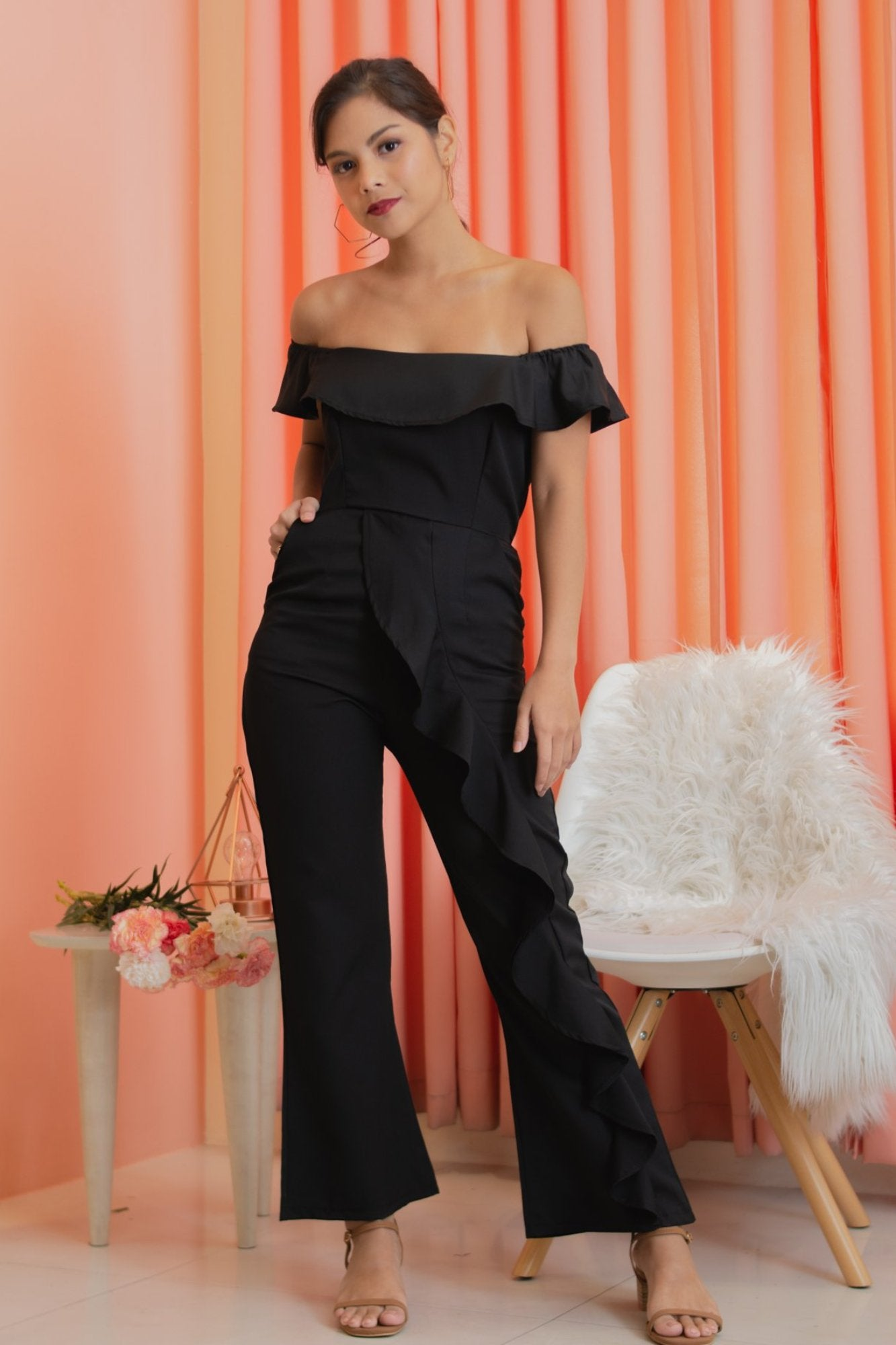 YIN Off the Shoulder Ruffle Jumpsuit