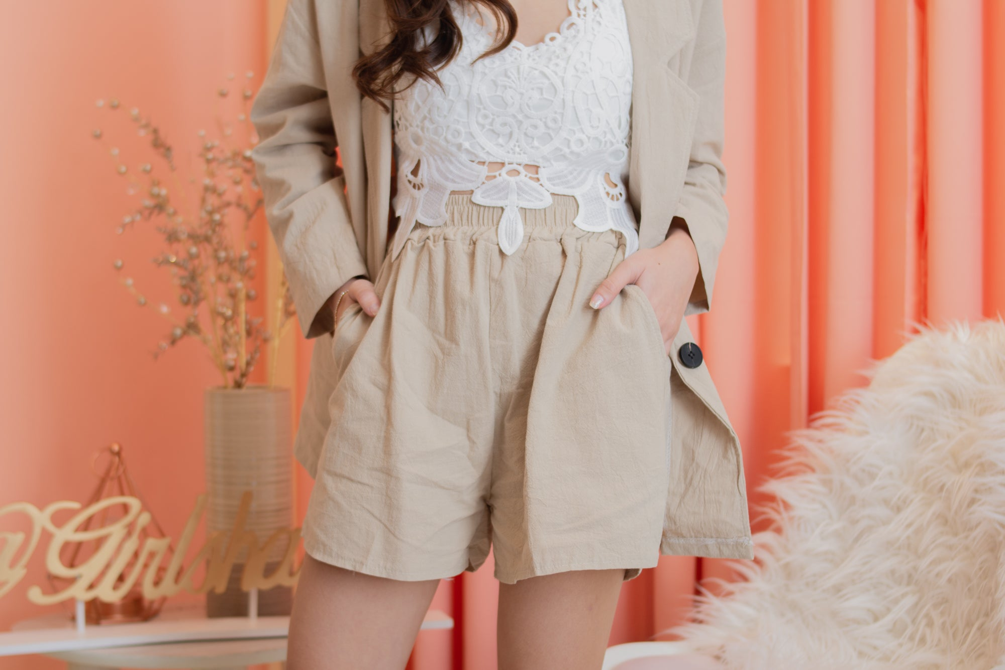 JAC Blazer Set + Shorts (Beige)