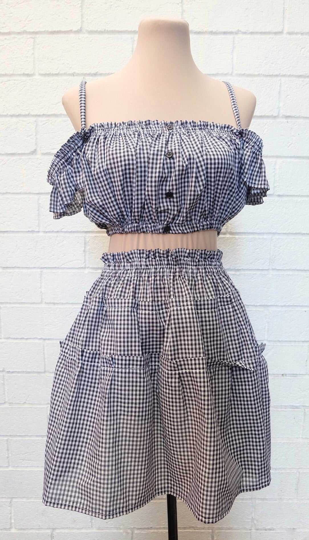 FELY Gingham Coordinates: Off Shoulder + Tiered Skirt