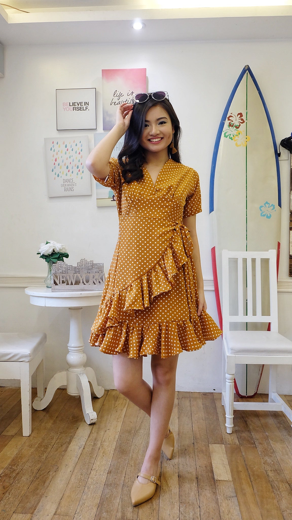 KELLY Polka Dot Ruffled Dress