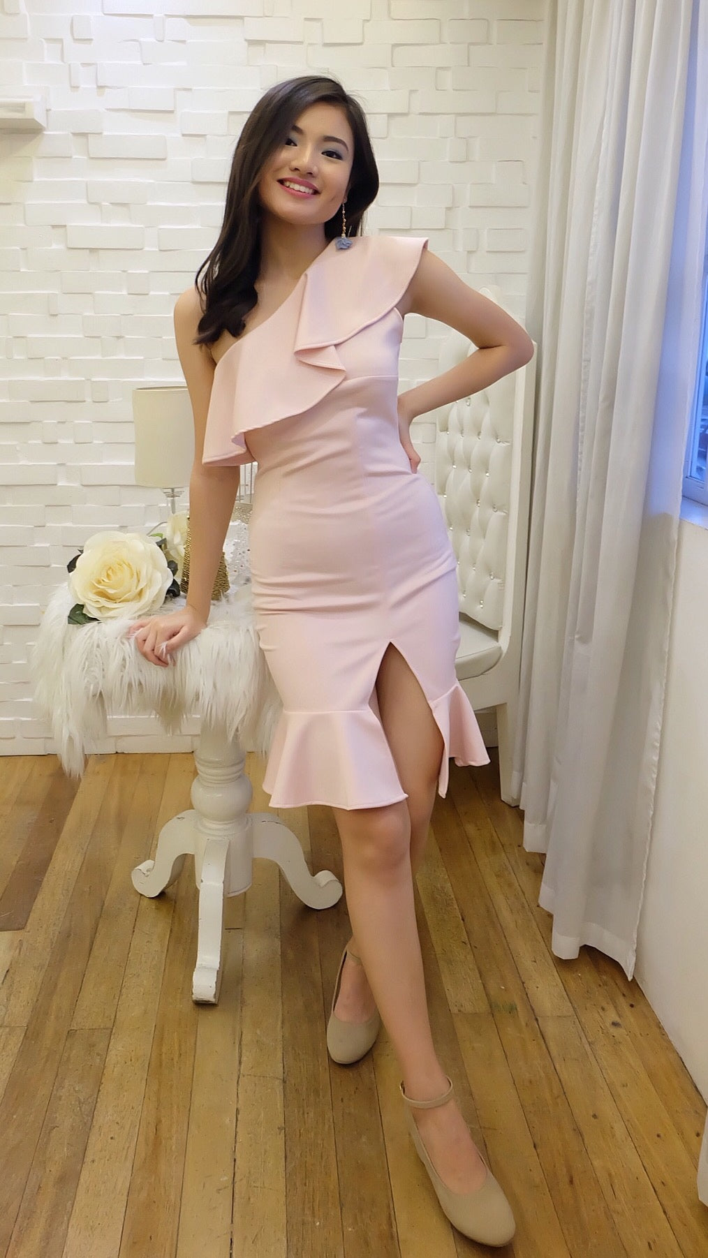 DAWN Ruffled Dress with Slit