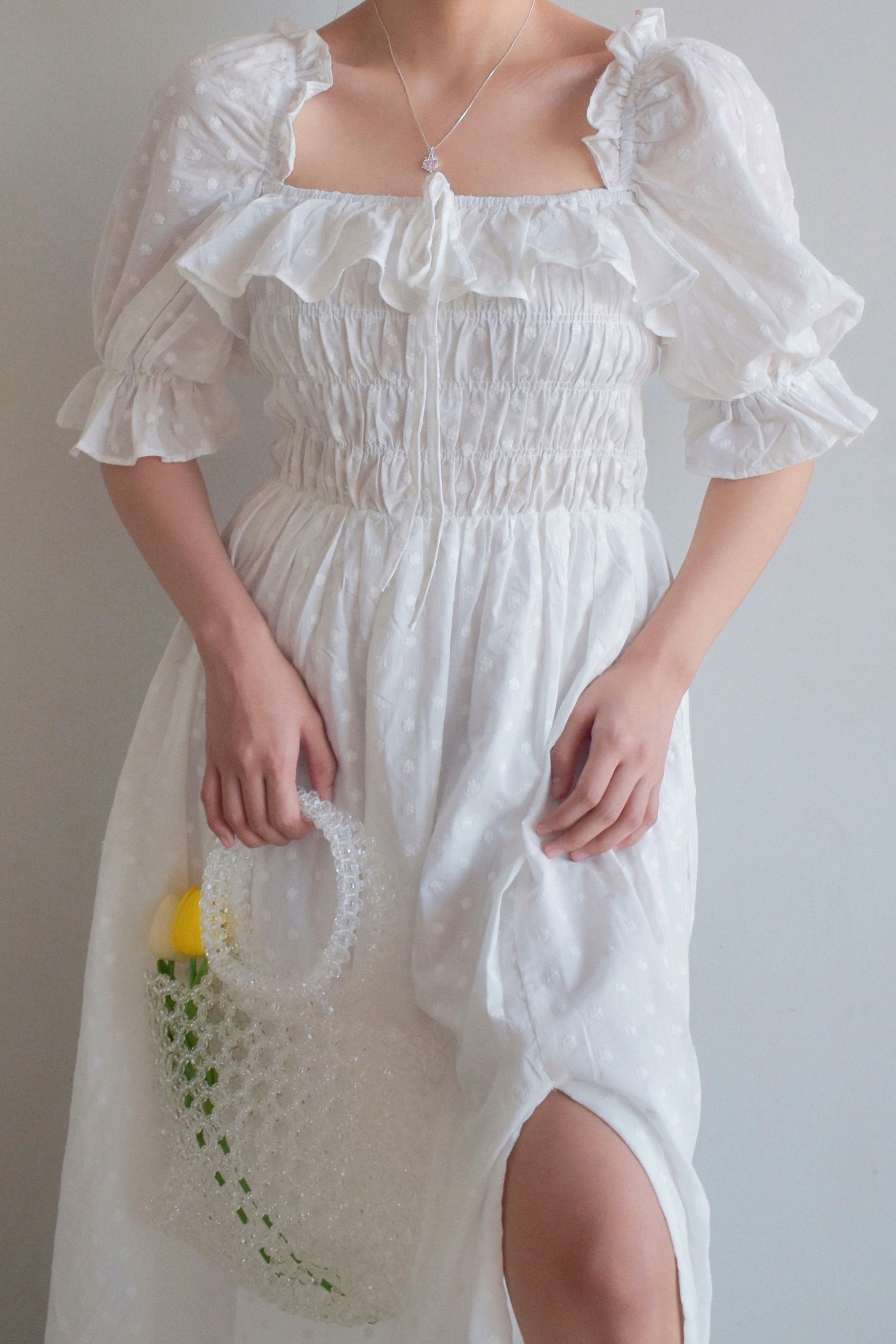 TBDA: Clementine Smocked Puff Sleeve Dress - White