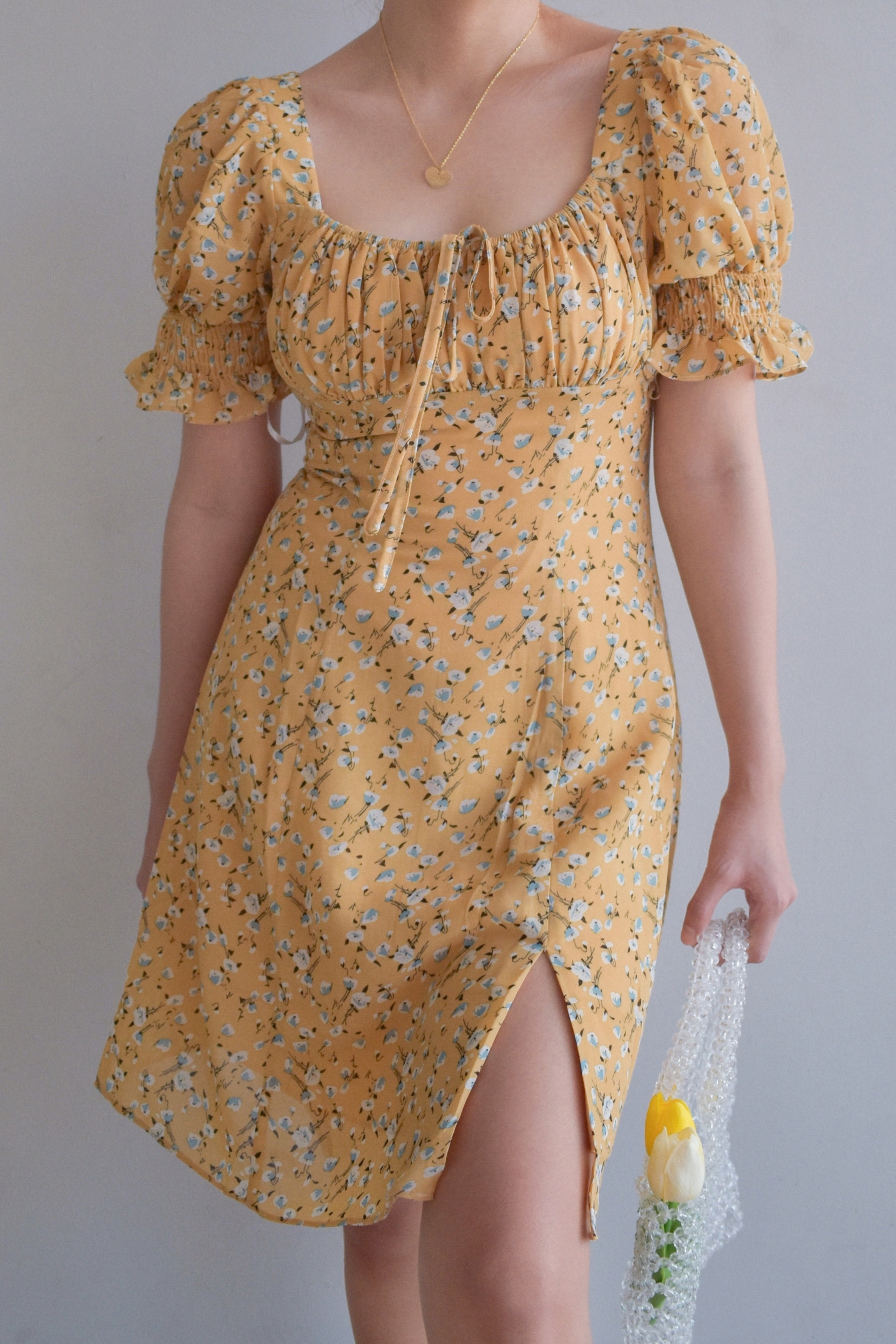 TBDA: Amaryllis Ruched Bust Puff Sleeve Dress - Floral Yellow