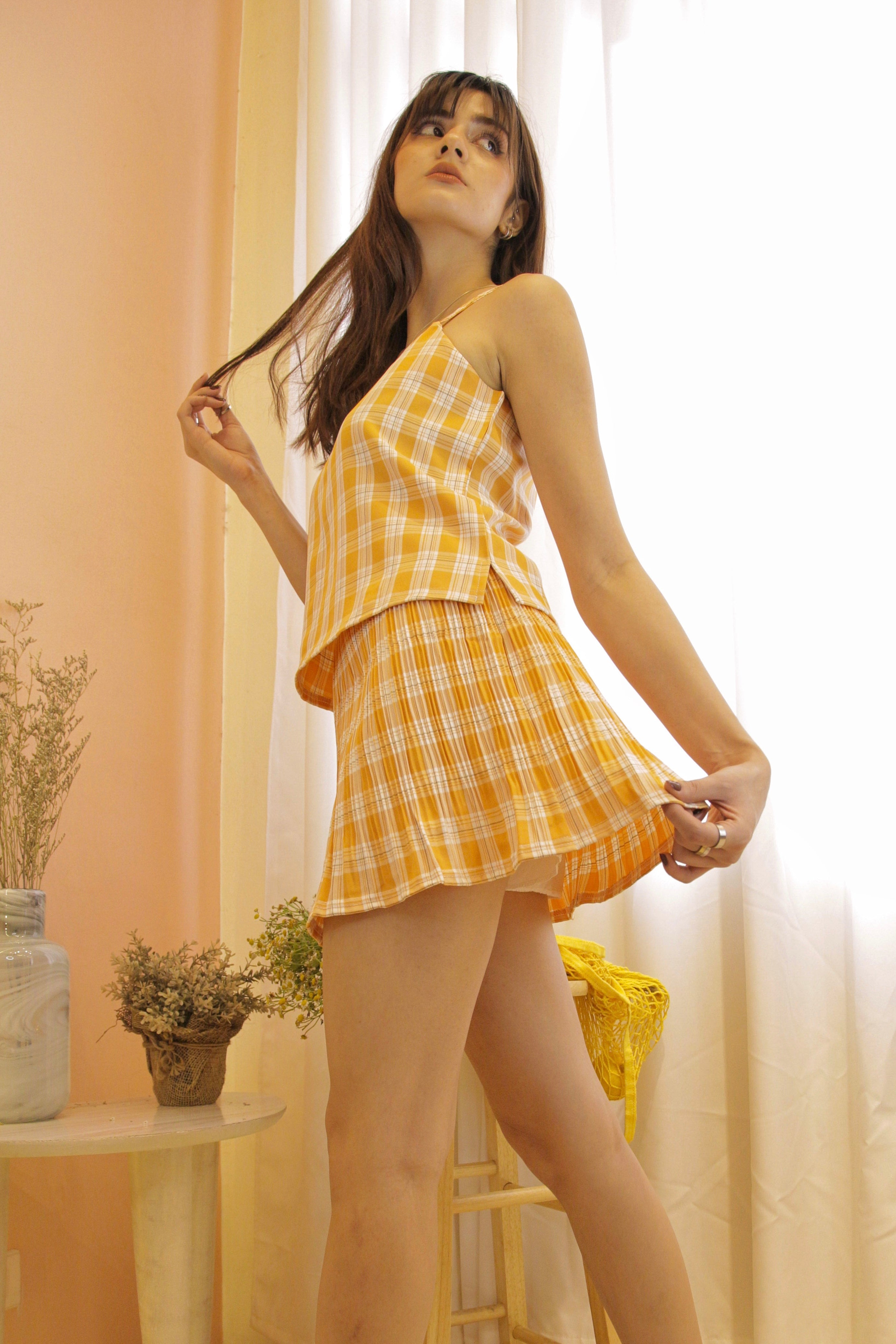 ALEXIS Gingham Coordinates: Top & Pleated Mini Skirt