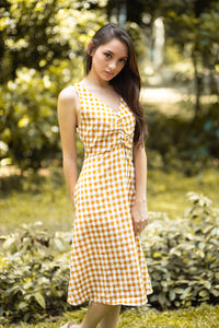 AVERY Gingham Ruched Front Dress
