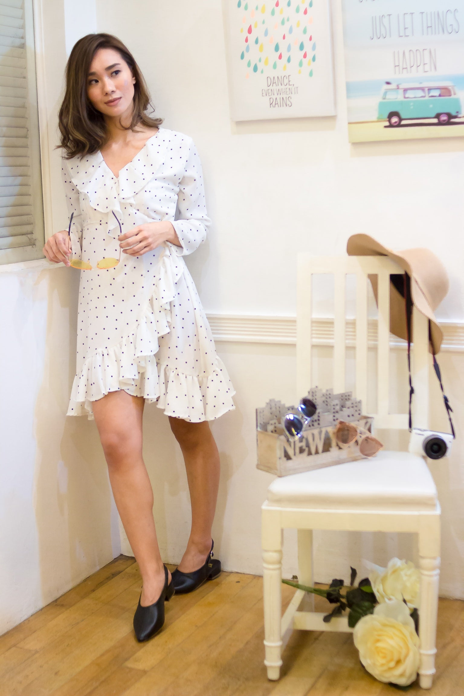 ERIN Polka Ruffled Dress