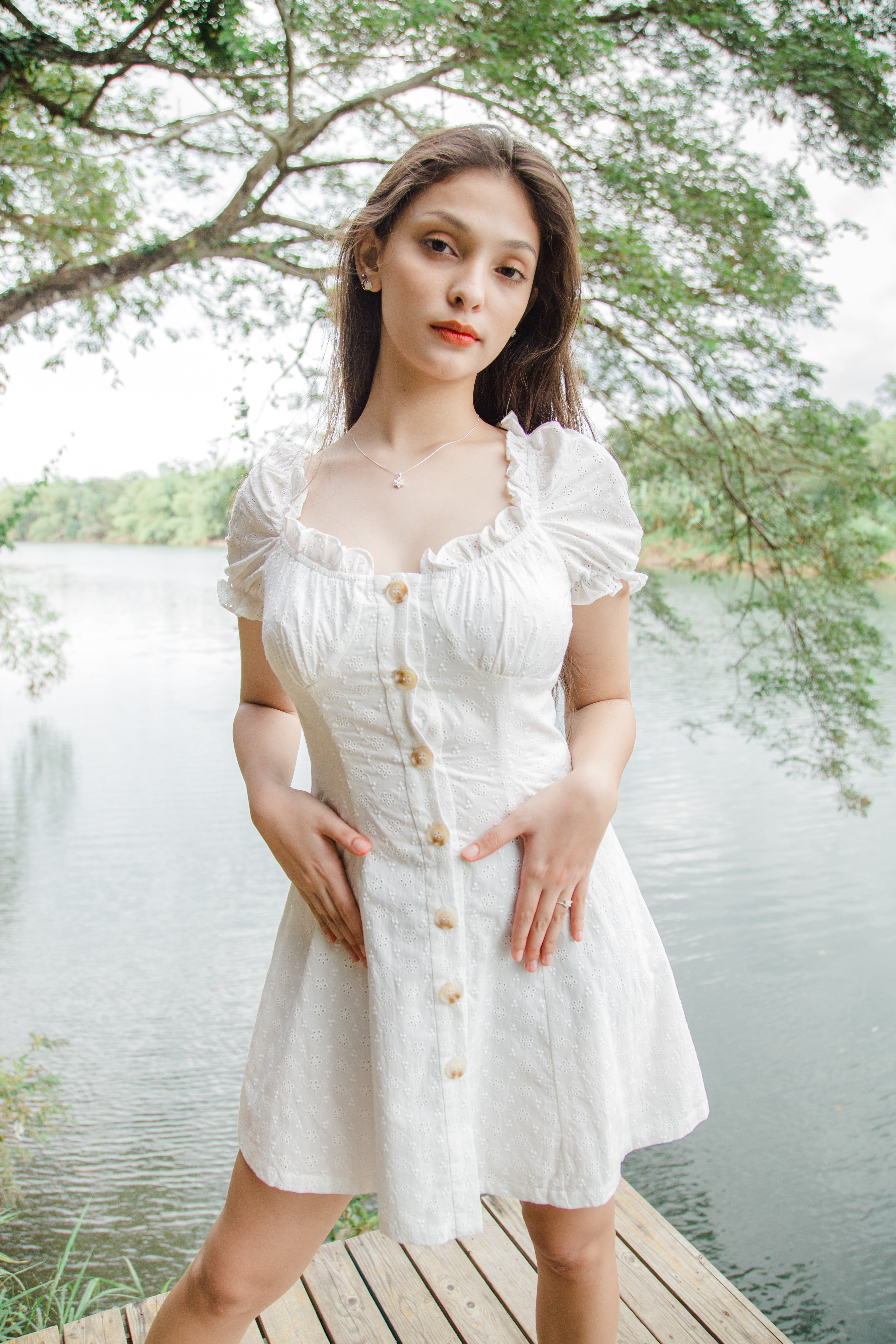 TBDA: Dionne Buttoned Eyelet Dress - White