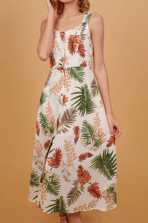 JAMAICA Printed Buttoned Dress