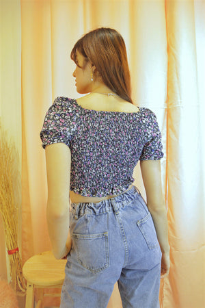 ZOWIE Short Sleeve Floral Ruched Top