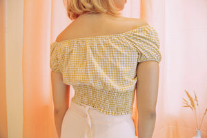 DANIELLA Gingham Puff Sleeve Top