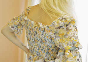 YASMINE Smocked Floral Top