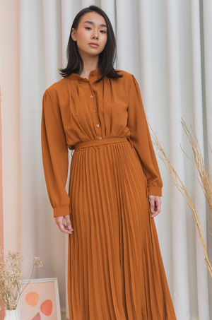 BROOKE Long Sleeve Pleated Midi Dress