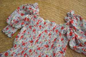 TBDA: Sweet Bouquet Smocked Dress: Mixed Red Floral