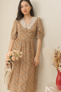 KAZUMI Floral Dress (BROWN / ORANGE FLORAL) Custom Options