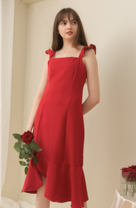 ELEANOR Ruffle Sleeve Dress (RED)