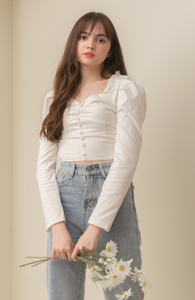 MAGGIE Buttoned Long Sleeve Blouse (WHITE)