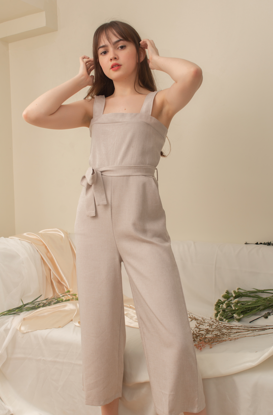 WENDIE Square Neck Jumpsuit (OATMEAL)