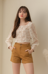 BETSY Lace Sleeve Blouse (CREAM)