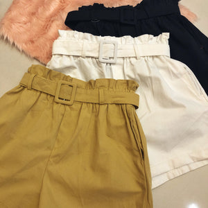 CALIN Belted Cotton Shorts