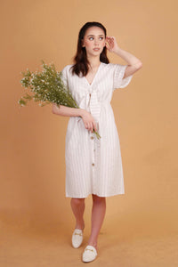 POSITANO Knotted Front Linen Dress