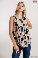 Animal Print Baby Doll Tank|Latte