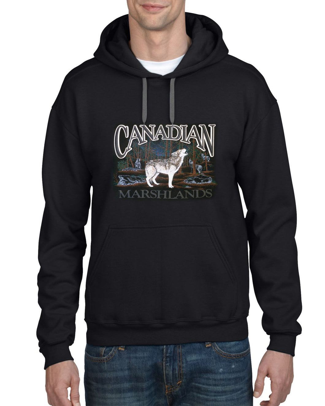 P551H BLK - RETRO CANADIAN HOODIE, WOLF